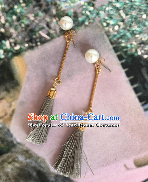 Handmade Wedding Accessories Grey Tassel Earrings, Bride Ceremonial Occasions Vintage Eardrop for Women