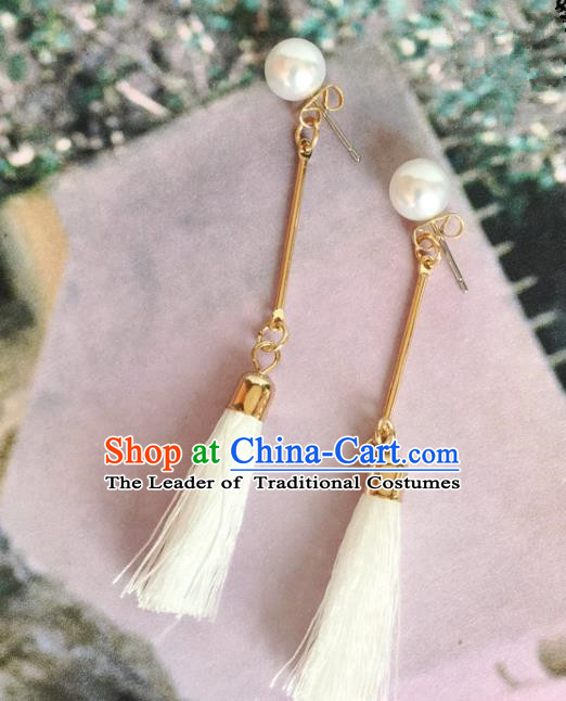 Handmade Wedding Accessories White Tassel Earrings, Bride Ceremonial Occasions Vintage Eardrop for Women