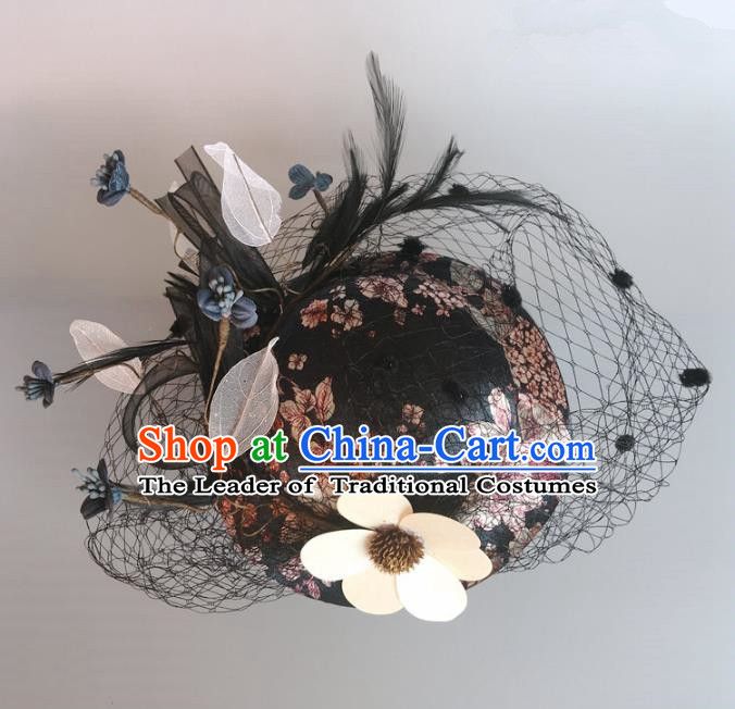 Handmade Baroque Hair Accessories Flowers Top Hats, Bride Ceremonial Occasions Headwear for Women
