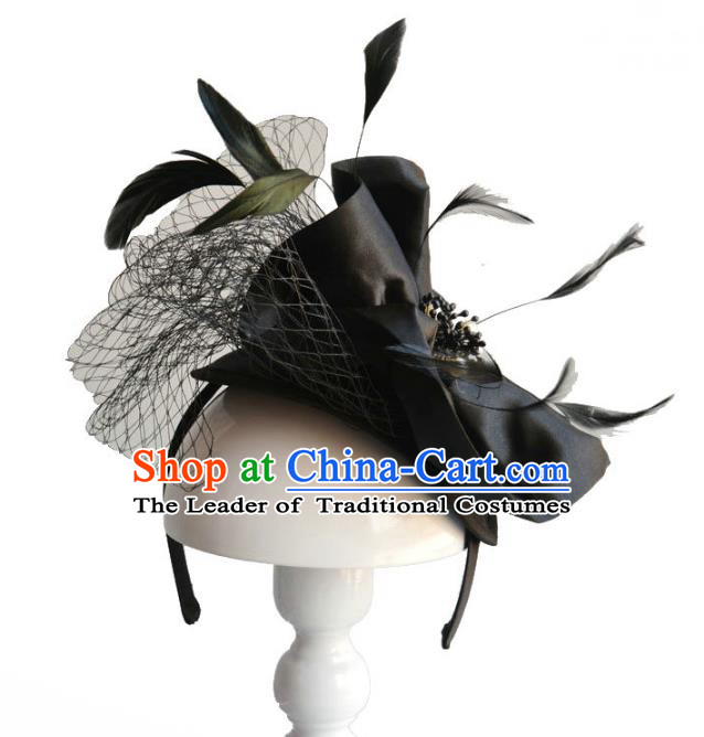Handmade Baroque Hair Accessories Black Feather Hair Clasp, Bride Ceremonial Occasions Headwear for Women