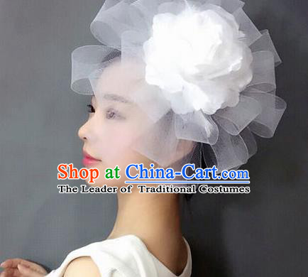 Handmade Baroque Hair Accessories White Veil Headwear, Bride Ceremonial Occasions Top Hat for Kids