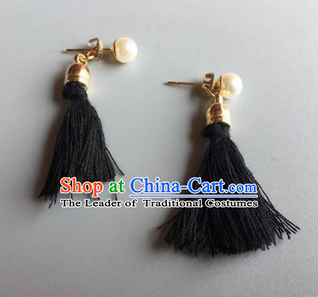 Handmade Wedding Accessories Tassel Pearl Earrings, Bride Ceremonial Occasions Vintage Eardrop for Women