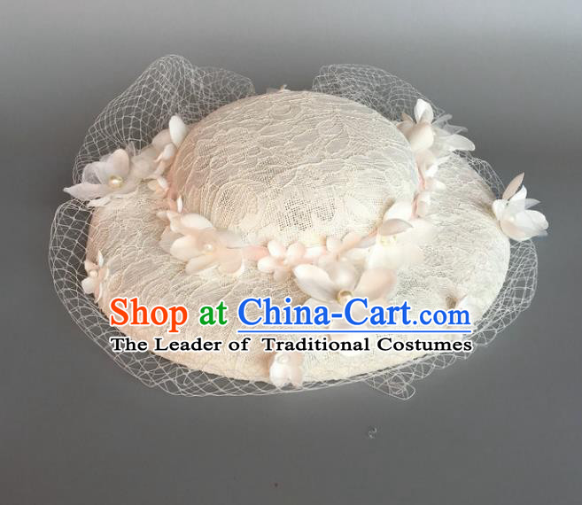 Handmade Baroque Hair Accessories Model Show White Lace Hat, Bride Ceremonial Occasions Top Hats for Women