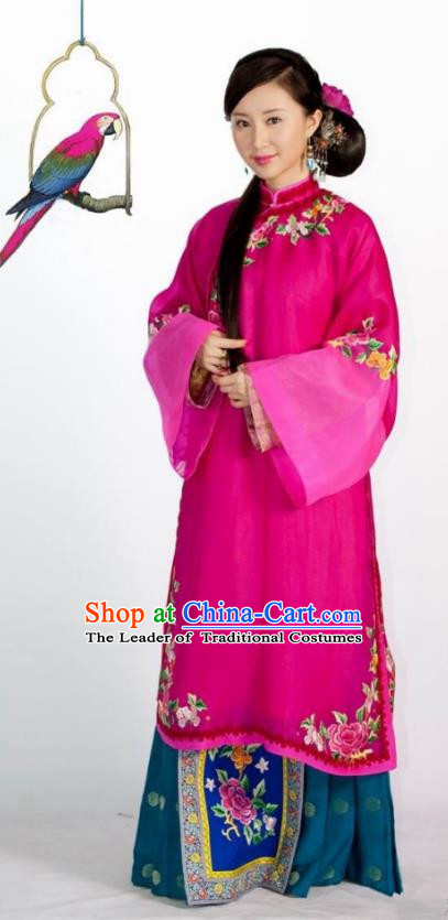 Traditional Chinese Qing Dynasty Imperial Concubine Embroidered Costume, Asian China Ancient Manchu Palace Lady Dress Clothing for Women