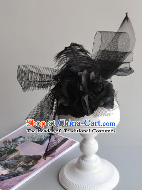 Top Grade Handmade Wedding Hair Accessories Black Veil Headwear, Baroque Style Bride Feather Hair Stick for Women