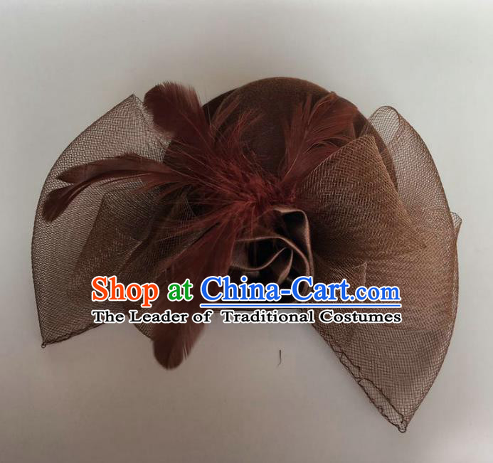 Top Grade Handmade Wedding Hair Accessories Bride Headwear, Baroque Style Brown Veil Hair Clasp for Women