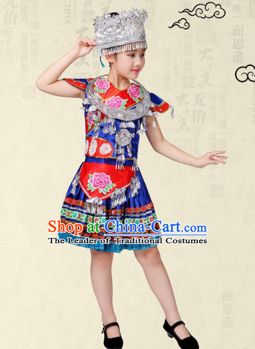 Traditional Chinese Miao Nationality Dance Costume, Hmong Children Folk Dance Ethnic Pleated Skirt Embroidery Clothing for Kids