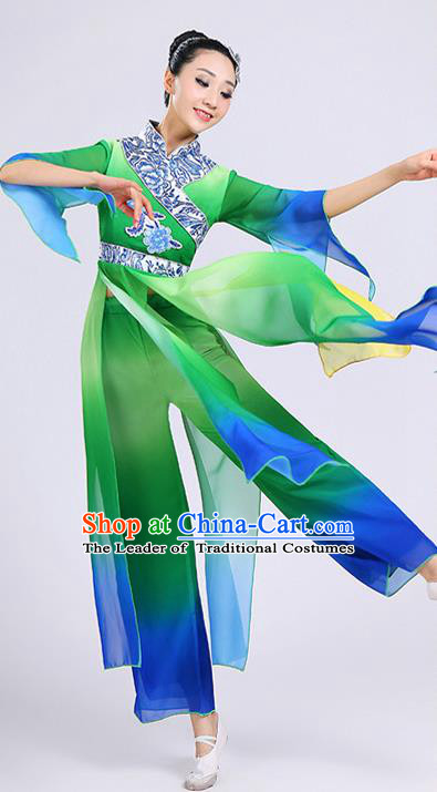 Traditional Chinese Classical Yangge Dance Embroidered Costume, Folk Fan Dance Uniform Classical Dance Green Clothing for Women