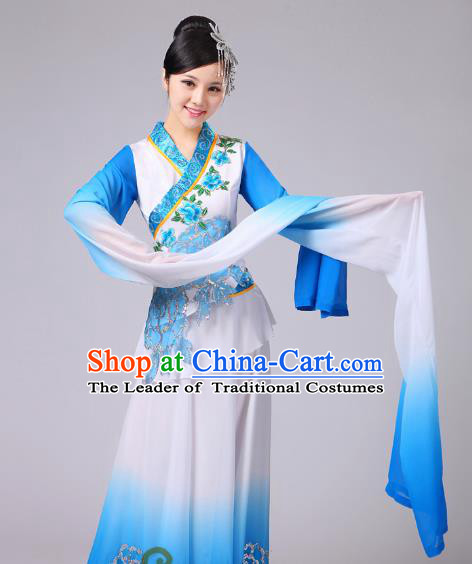 Traditional Chinese Classical Yangge Fan Dance Embroidered Costume, Folk Dance Uniform Classical Dance Water Sleeve Blue Clothing for Women