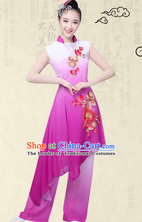 Traditional Chinese Classical Yangge Fan Dance Embroidered Costume, Folk Dance Uniform Classical Dance Purple Clothing for Women