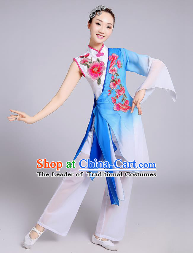 Traditional Chinese Classical Yangge Fan Dance Embroidered Costume, Folk Dance Uniform Classical Dance Blue Clothing for Women
