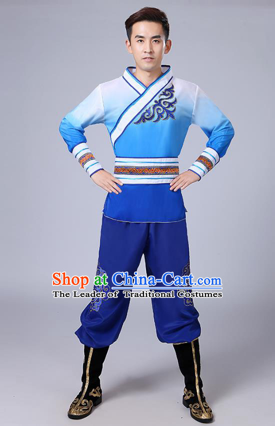 Traditional Chinese Classical Yangge Dance Embroidered Costume, Folk Fan Dance Uniform Drum Dance Blue Clothing for Men