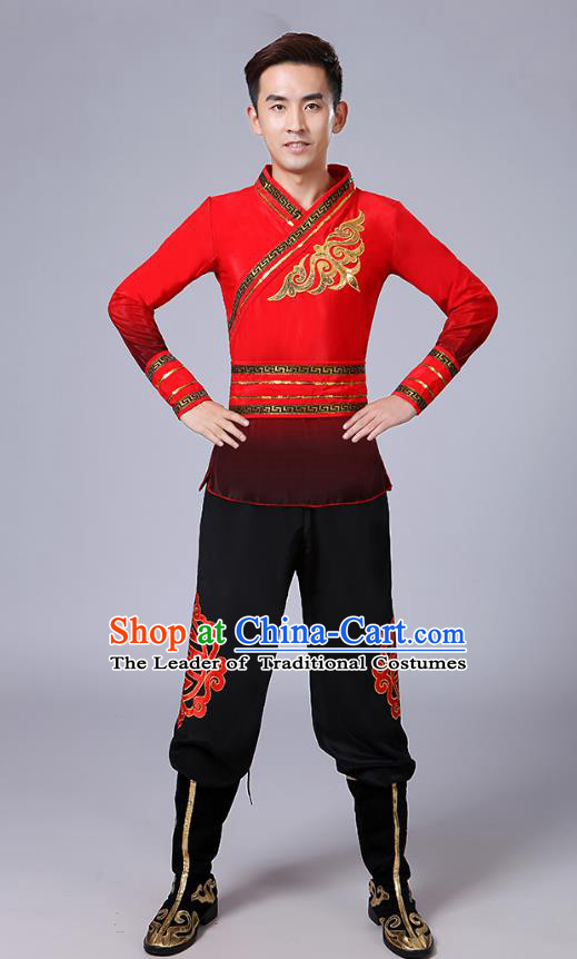 Traditional Chinese Classical Yangge Dance Embroidered Costume, Folk Fan Dance Uniform Drum Dance Red Clothing for Men