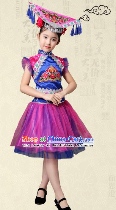 Traditional Chinese Yi Nationality Dance Costume, Female Folk Dance Ethnic Pleated Skirt Embroidery Dress Clothing for Kids