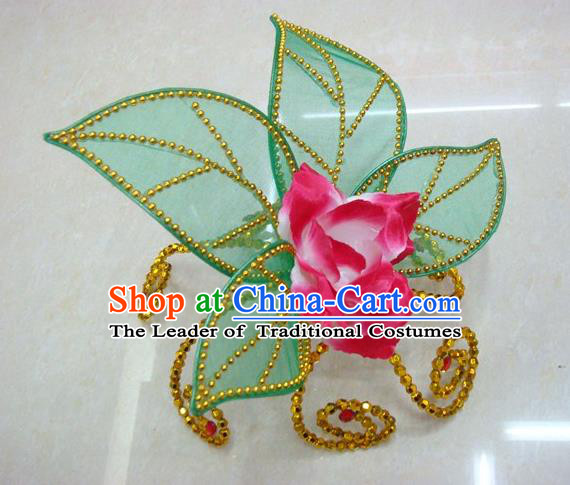 Top Grade Handmade Chinese Folk Dance Hair Accessories, China Yangge Fan Dance Rosy Flower Headwear for Women