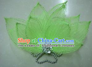 Top Grade Handmade Chinese Folk Dance Hair Accessories, China Yangge Fan Dance Green Flower Headwear for Women