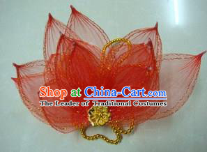 Top Grade Handmade Chinese Folk Dance Hair Accessories, China Yangge Fan Dance Red Flower Headwear for Women