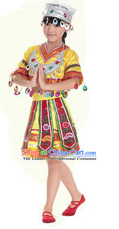 Traditional Chinese Miao Nationality Dance Costume, Hmong Children Folk Dance Ethnic Pleated Skirt Embroidery Yellow Clothing for Kids
