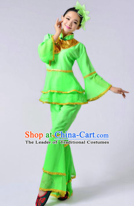 Traditional Chinese Yangge Fan Dance Mandarin Sleeve Costume, Folk Umbrella Dance Uniform Classical Dance Green Clothing for Women