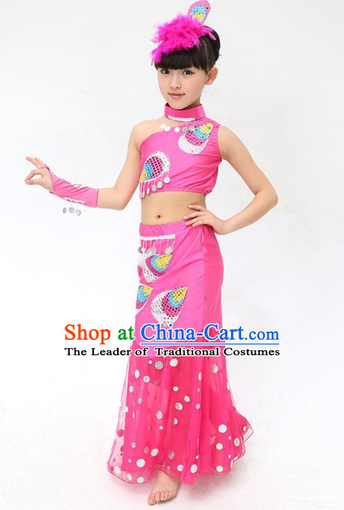 Traditional Chinese Dai Nationality Peacock Dance Pink Costume, Folk Dance Ethnic Pavane Clothing Minority Dance Dress for Kids