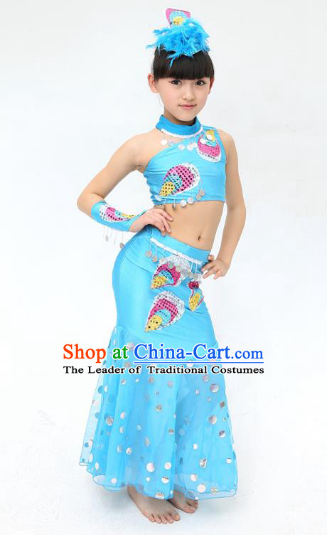 Traditional Chinese Dai Nationality Peacock Dance Blue Costume, Folk Dance Ethnic Pavane Clothing Minority Dance Dress for Kids