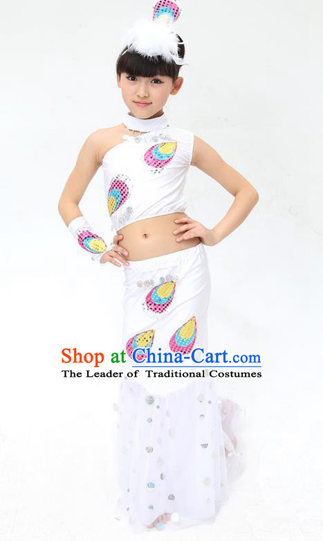 Traditional Chinese Dai Nationality Peacock Dance White Costume, Folk Dance Ethnic Pavane Clothing Minority Dance Dress for Kids