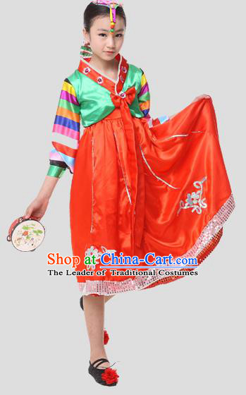 Traditional Chinese Korean Nationality Dance Costume, Children Folk Dance Ethnic Drum Dance Embroidery Red Dress Clothing for Kids