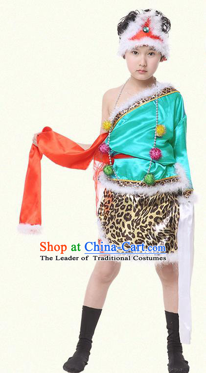 Traditional Chinese Zang Nationality Dance Costume, Children Tibetan Folk Dance Embroidery Green Clothing for Boys