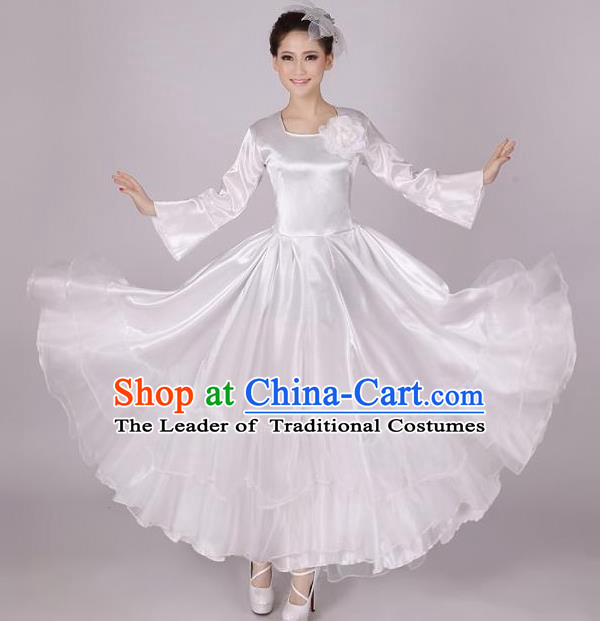 Top Grade Modern Dance Costume, Female Opening Dance Big Swing White Dress for Women