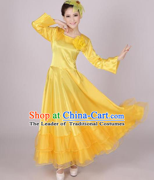 Top Grade Modern Dance Chorus Costume, Female Opening Dance Big Swing Yellow Dress for Women