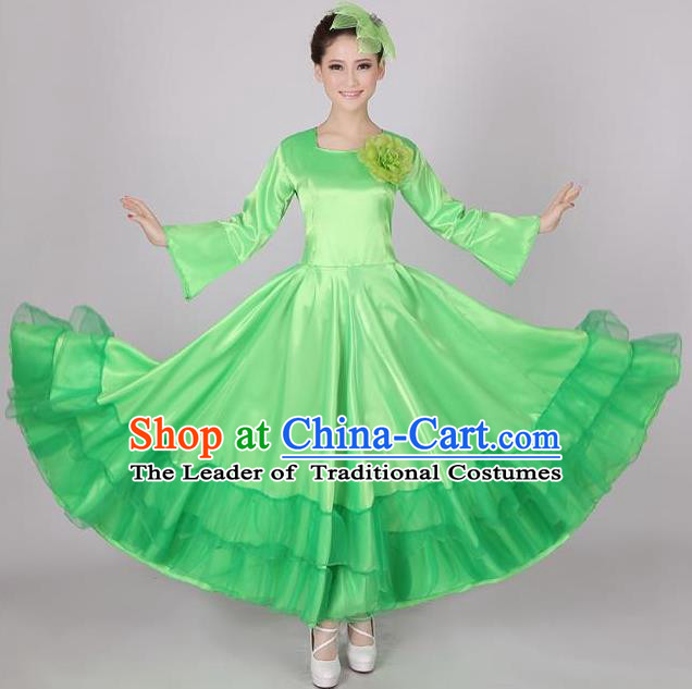 Top Grade Modern Dance Chorus Costume, Female Opening Dance Big Swing Green Dress for Women