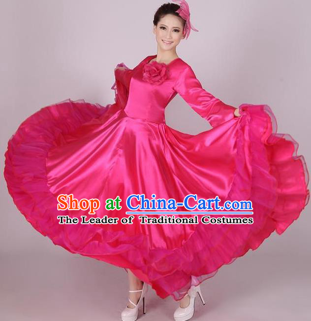 Top Grade Modern Dance Chorus Costume, Female Opening Dance Big Swing Rosy Dress for Women