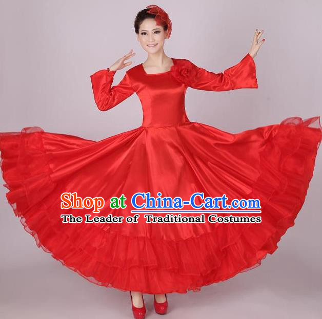 Top Grade Modern Dance Chorus Costume, Female Opening Dance Big Swing Red Dress for Women