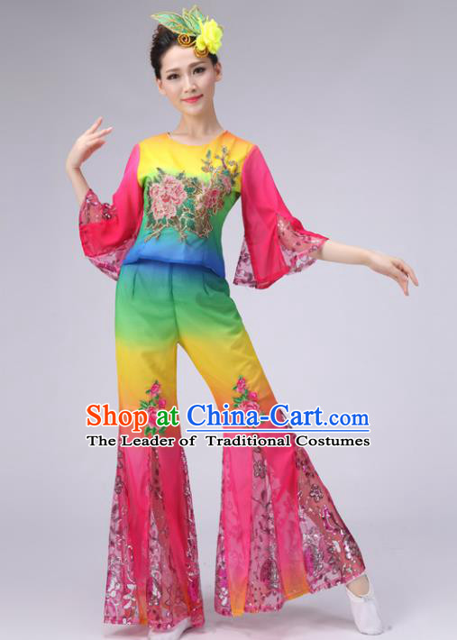Traditional Chinese Yangge Dance Embroidered Costume, Folk Fan Dance Pink Uniform Classical Umbrella Dance Clothing for Women