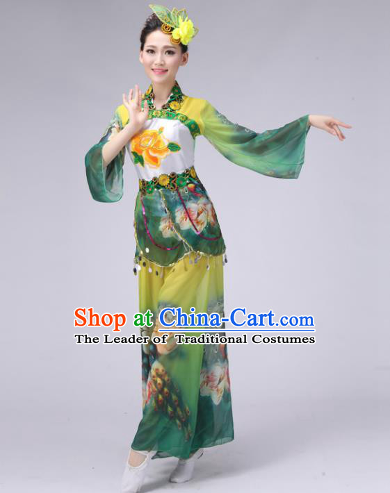 Traditional Chinese Yangge Dance Embroidered Costume, Folk Fan Dance Green Uniform Classical Umbrella Dance Clothing for Women