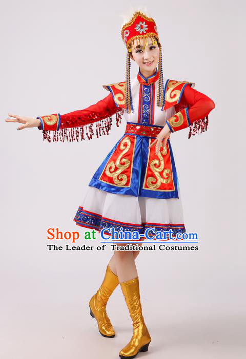 Traditional Chinese Mongol Nationality Dance Costume, China Mongolian Minority Embroidery Red Dress Clothing for Women