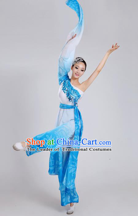 Traditional Chinese Yangge Dance Embroidered Blue Water Sleeve Costume, Folk Fan Dance Uniform Classical Umbrella Dance Clothing for Women