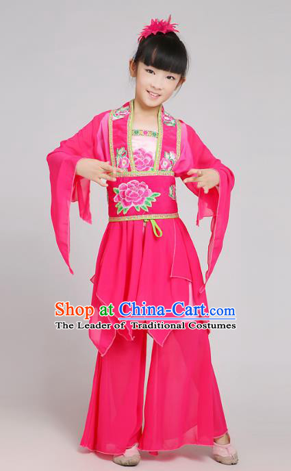Traditional Chinese Yangge Dance Rosy Costume, Folk Drum Dance Uniform Classical Dance Embroidery Clothing for Kids