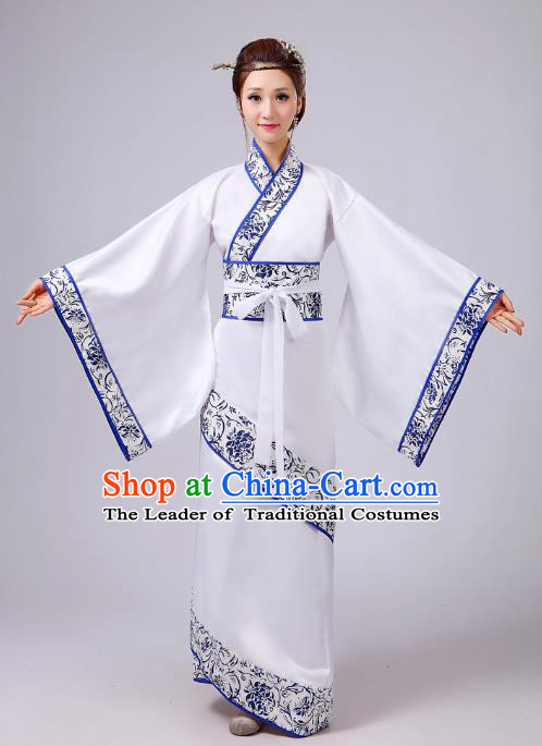 Traditional Chinese Han Dynasty Palace Lady Costume, Asian China Ancient Princess White Dress Clothing for Women