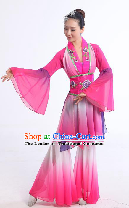 Traditional Chinese Yangge Fan Dance Dance Pink Costume, Folk Dance Uniform Classical Dance Embroidery Clothing for Women