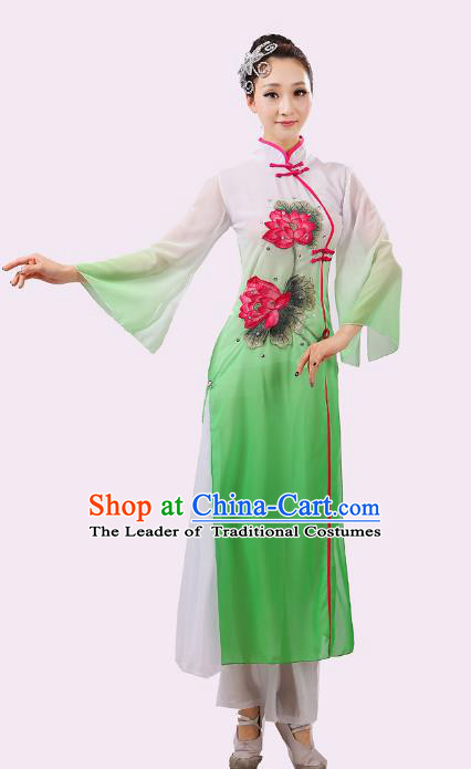 Traditional Chinese Umbrella Dance Green Embroidered Lotus Costume, Folk Fan Dance Uniform Classical Dance Dress Clothing for Women