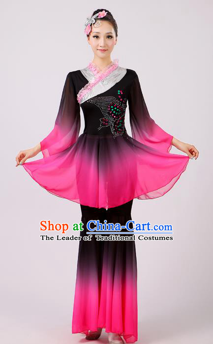 Traditional Chinese Umbrella Dance Lotus Dance Costume, Folk Fan Dance Uniform Classical Dance Clothing for Women