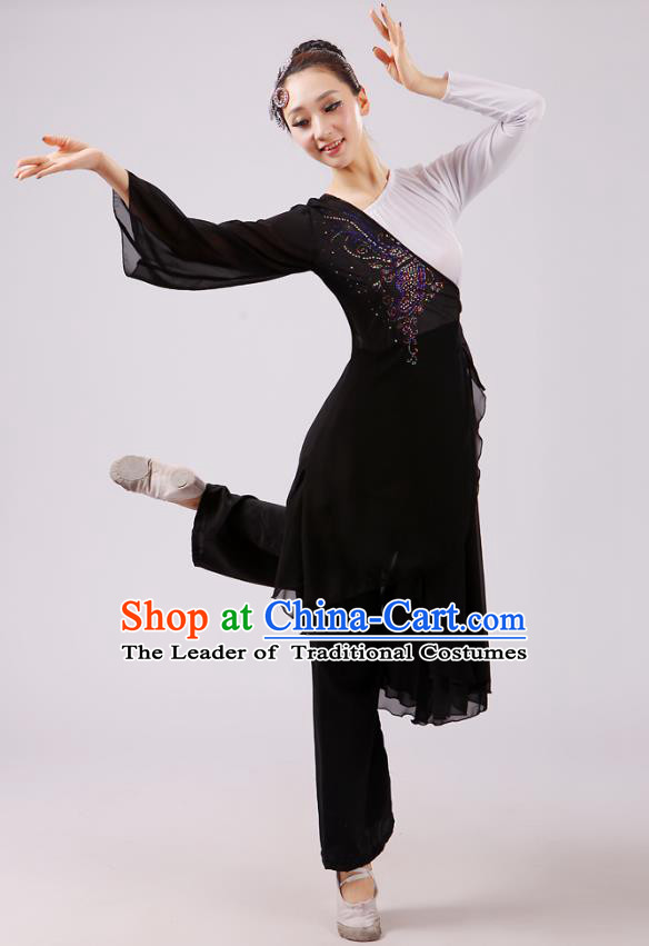 Traditional Chinese Yangge Dance Costume, Folk Fan Dance Black Uniform Classical Dance Clothing for Women