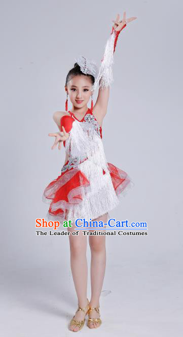 Top Grade Modern Dance Latin Dance Competition Costume, Opening Dance White Tassel Dress for Kids