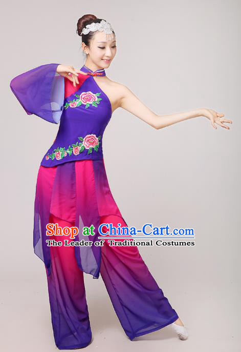 Traditional Chinese Yangge Dance Costume, Folk Fan Dance Purple Uniform Classical Dance Dress Clothing for Women