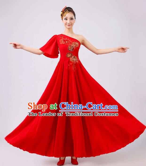 Top Grade Modern Dance Professional Competition Costume, Opening Dance Red Big Swing Chorus Dress for Women
