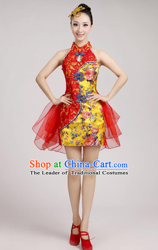 China Modern Dance Professional Competition Costume, Opening Dance Red Embroidered Bubble Dress for Women