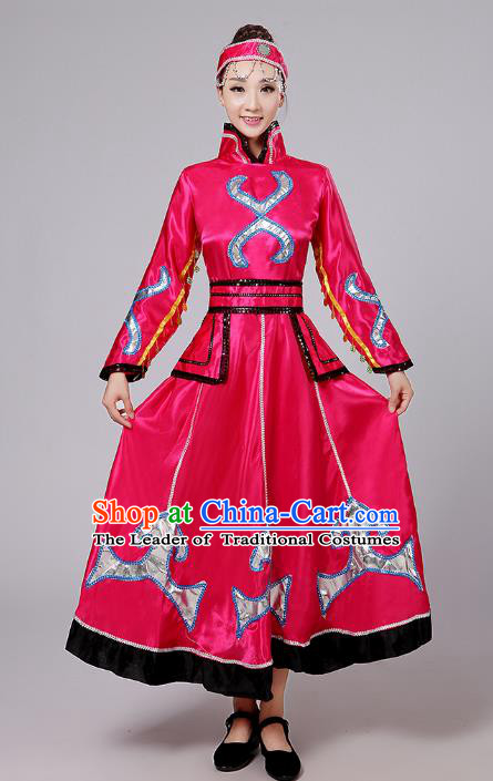 Traditional Chinese Mongol Nationality Dance Costume, China Mongolian Minority Embroidery Rosy Dress Clothing for Women