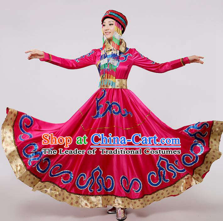Traditional Chinese Mongol Nationality Dance Rosy Costume, China Mongolian Minority Embroidery Long Dress Clothing for Women