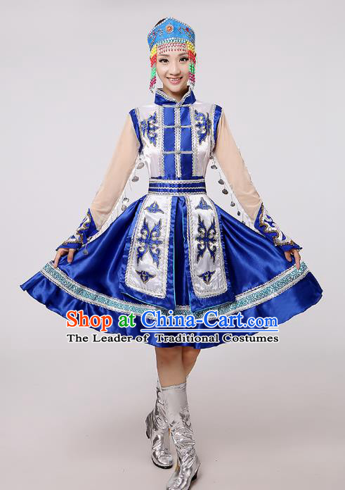 Traditional Chinese Mongol Nationality Dance Costume Blue Mongolian Robe, China Minority Embroidery Dress Clothing for Women